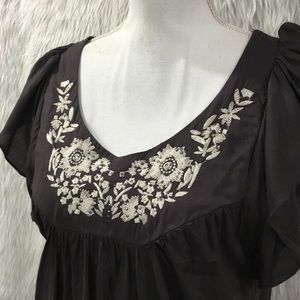 One World gray floral embroidered embellished top